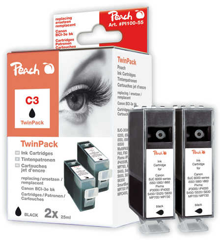 Peach  Twin Pack schwarz kompatibel zu Canon Multipass MP 700