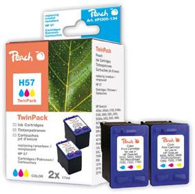 Peach  Doppelpack Druckköpfe color kompatibel zu HP OfficeJet 4252