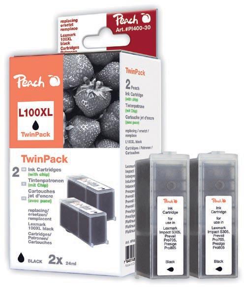 Peach  Doppelpack 2 Tintenpatronen schwarz kompatibel zu Lexmark Impact S 302