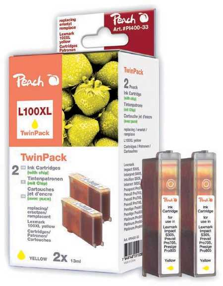 Peach  Doppelpack 2 Tintenpatronen gelb kompatibel zu Lexmark Impact S 302