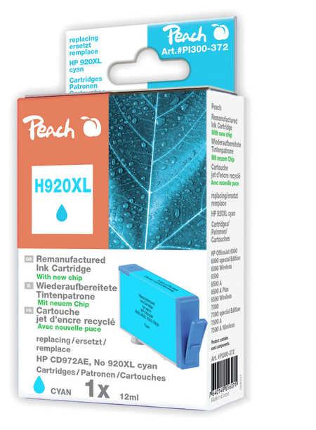 Peach  Tintenpatrone cyan HC kompatibel zu HP OfficeJet 6000