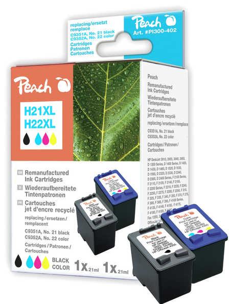 Peach  Spar Pack Druckköpfe kompatibel zu HP OfficeJet 1410 XI
