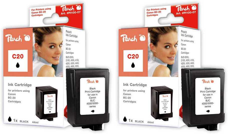 Peach  Doppelpack Druckköpfe schwarz kompatibel zu Canon BJC 4300