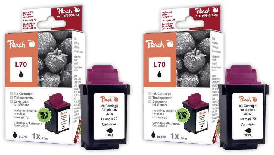 Peach  Doppelpack Druckköpfe schwarz kompatibel zu Lexmark Optra Color 40