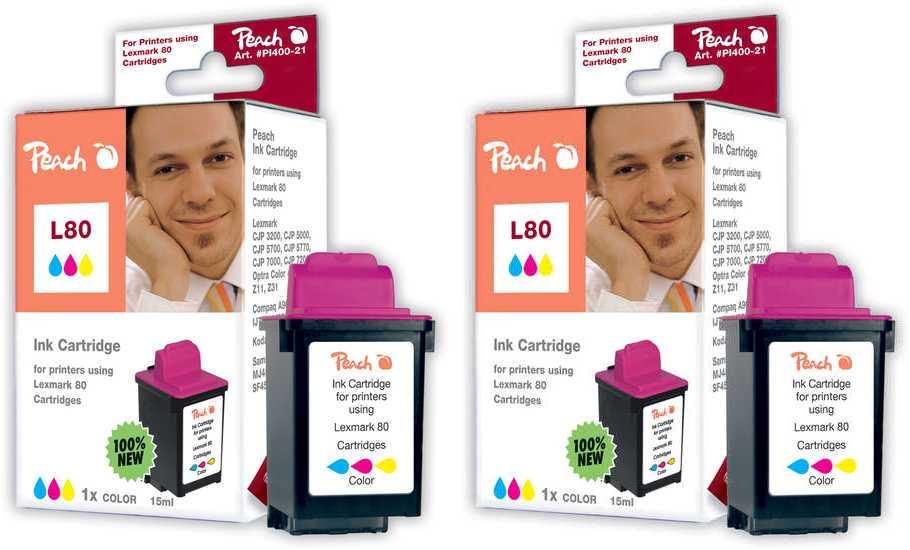 Peach  Doppelpack Tintenpatronen color kompatibel zu Lexmark Optra Color 40