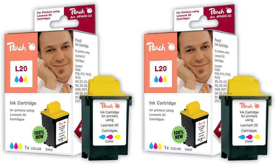 Peach  Doppelpack Druckköpfe color kompatibel zu Lexmark F 4250