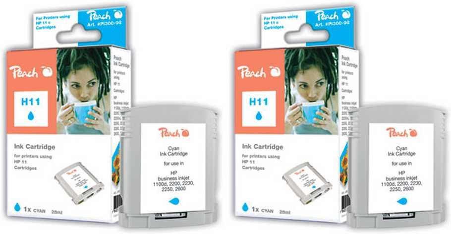 Peach  Doppelpack Tintenpatronen cyan kompatibel zu HP Business InkJet 1200 DN
