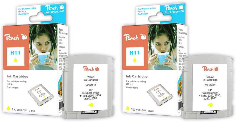 Peach  Doppelpack Tintenpatronen gelb kompatibel zu HP Business InkJet 1200 DN