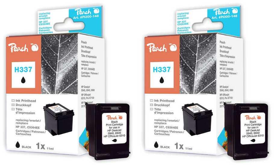 Peach  Doppelpack Druckköpfe schwarz kompatibel zu HP OfficeJet H 470 WF