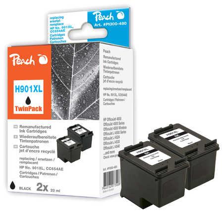 Peach  Doppelpack Druckköpfe schwarz kompatibel zu HP OfficeJet 4500