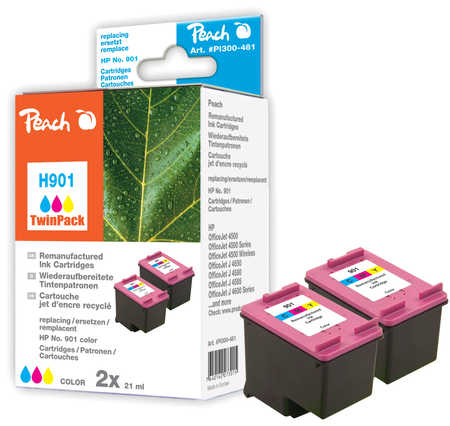 Peach  Doppelpack Druckköpfe color kompatibel zu HP OfficeJet 4500