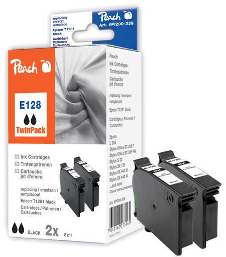 Peach  Doppelpack Tintenpatronen schwarz kompatibel zu Epson Stylus T 22