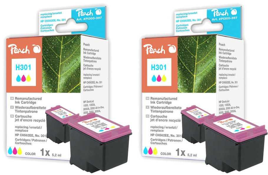 Peach  Doppelpack Druckköpfe color kompatibel zu HP OfficeJet 4639
