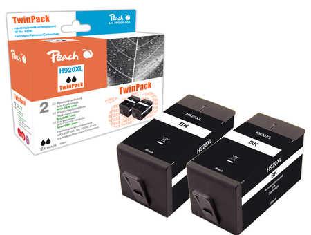Peach  TwinPack Tintenpatrone schwarz HC kompatibel zu HP OfficeJet 6000