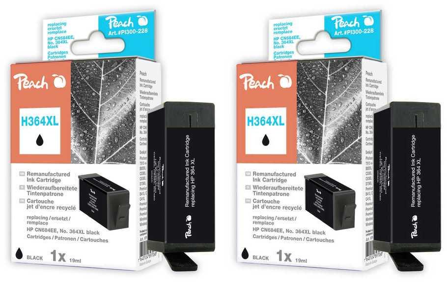 Peach  Doppelpack Tintenpatronen schwarz kompatibel zu HP PhotoSmart Plus